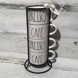 Rae Dunn ESPRESSO CAFE stacking mugs NEW!
